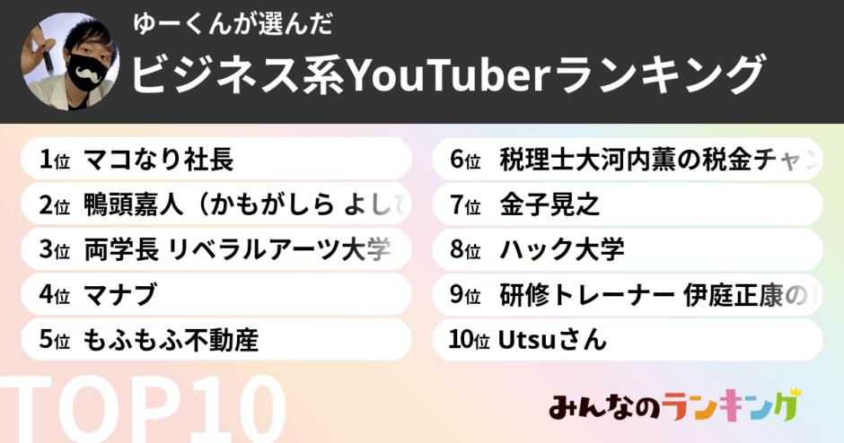 みんなのランキング公認YouTubeマイスターがお届けする「ビジネス系Youtuberおすすめランキング」
