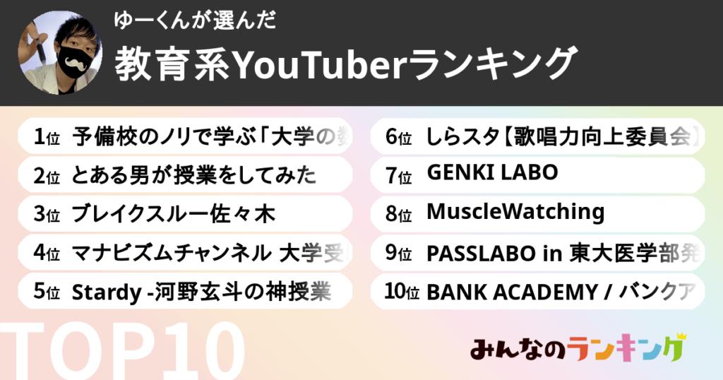 教育系YouTuberランキング10選【みんなのランキング公認YouTubeマイスター厳選!】